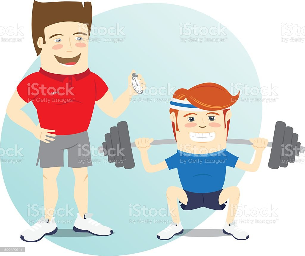 Fitness personal trainer and funny sportsman doing squats vector art illustration