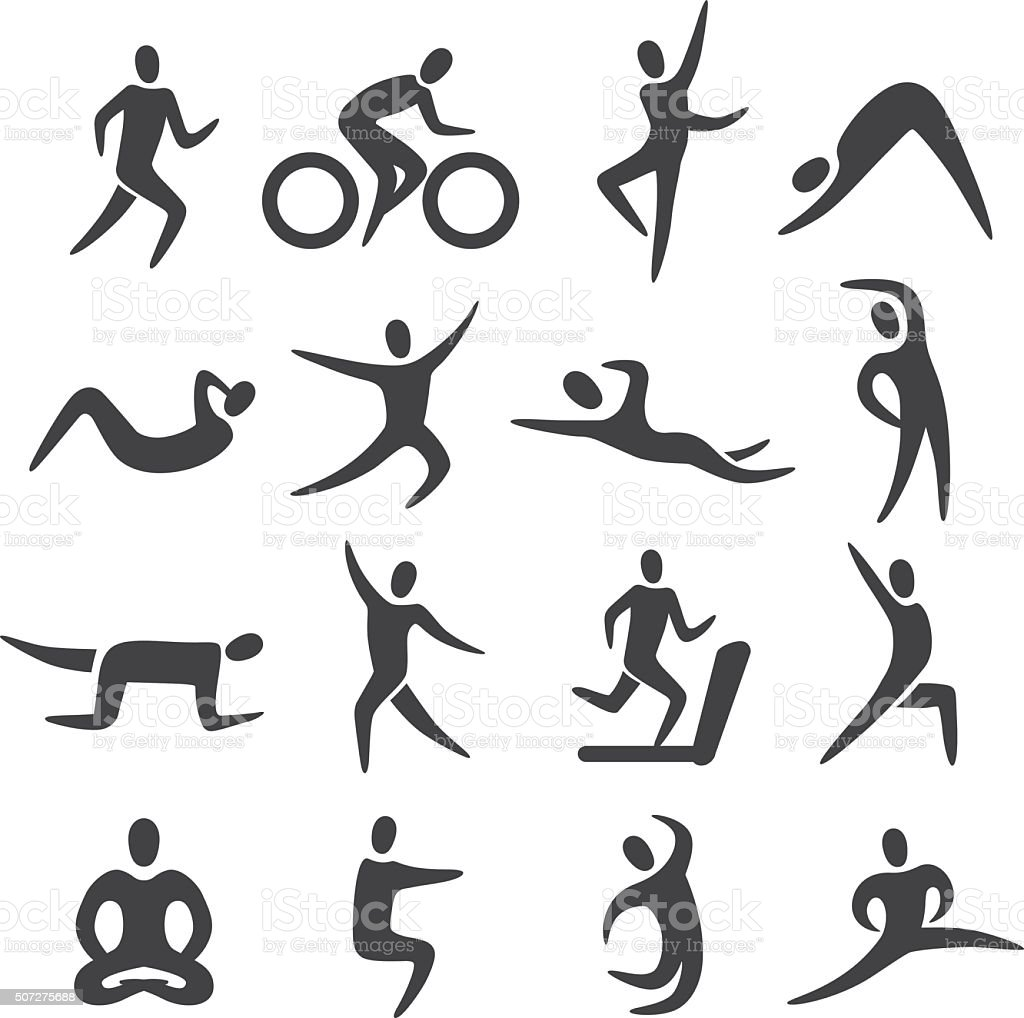 Fitness Posture Icons - Acme Series vector art illustration