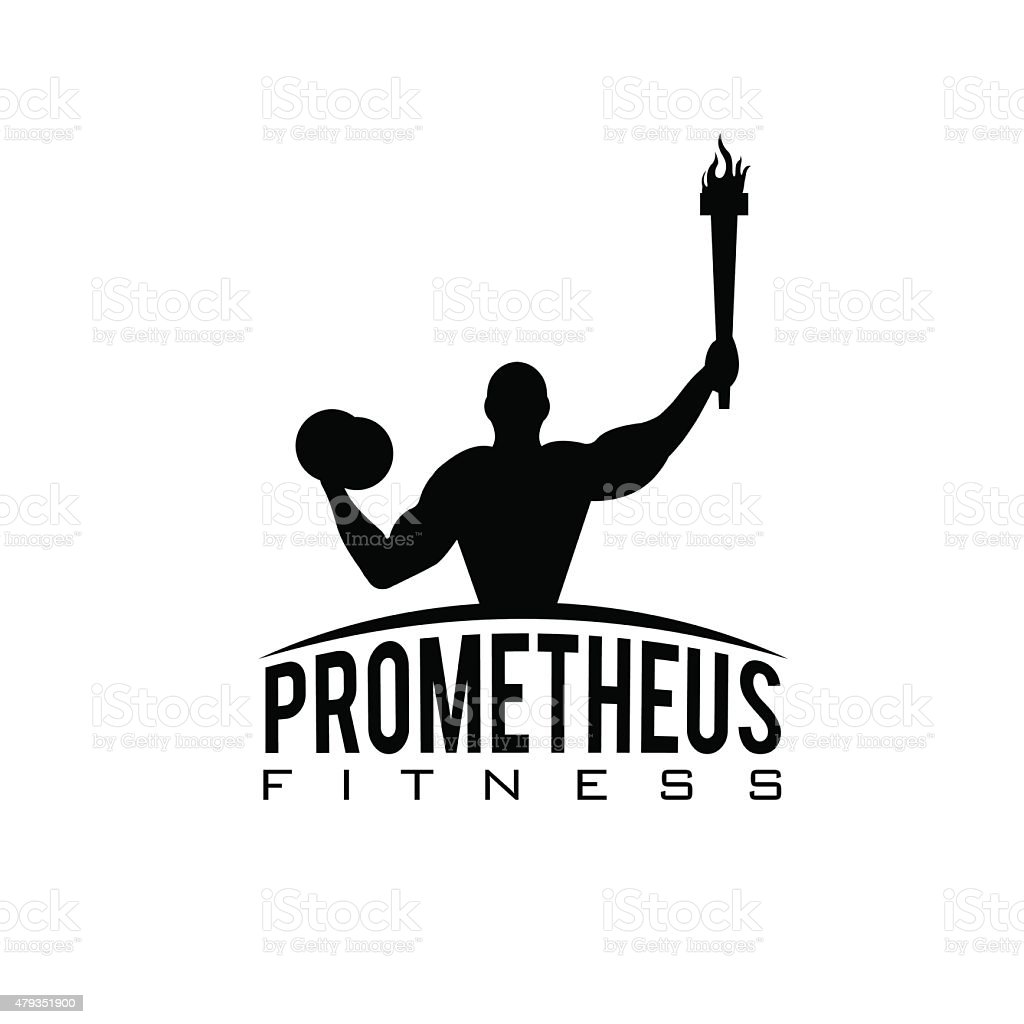 fitness prometheus with man holding a torch vector art illustration