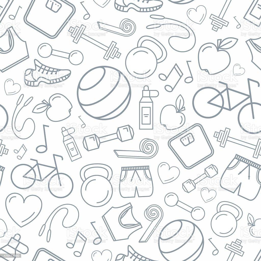 Fitness seamless pattern background vector art illustration