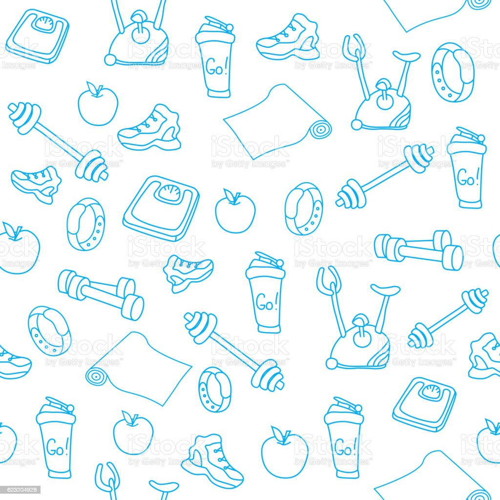 Fitness seamless pattern vector art illustration