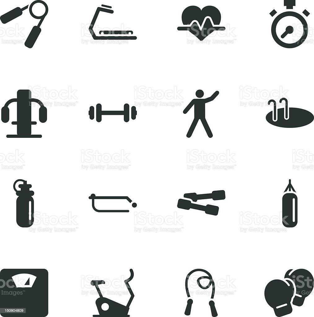 Fitness Silhouette Icons vector art illustration