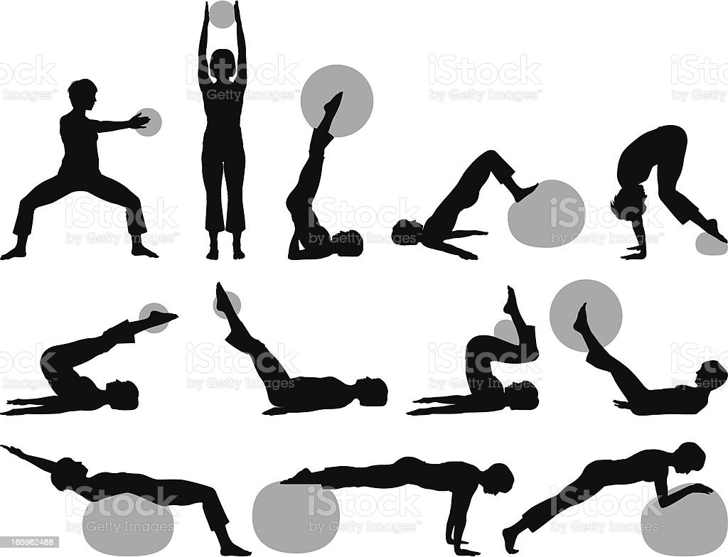 Fitness silhouettes ball royalty-free stock vector art