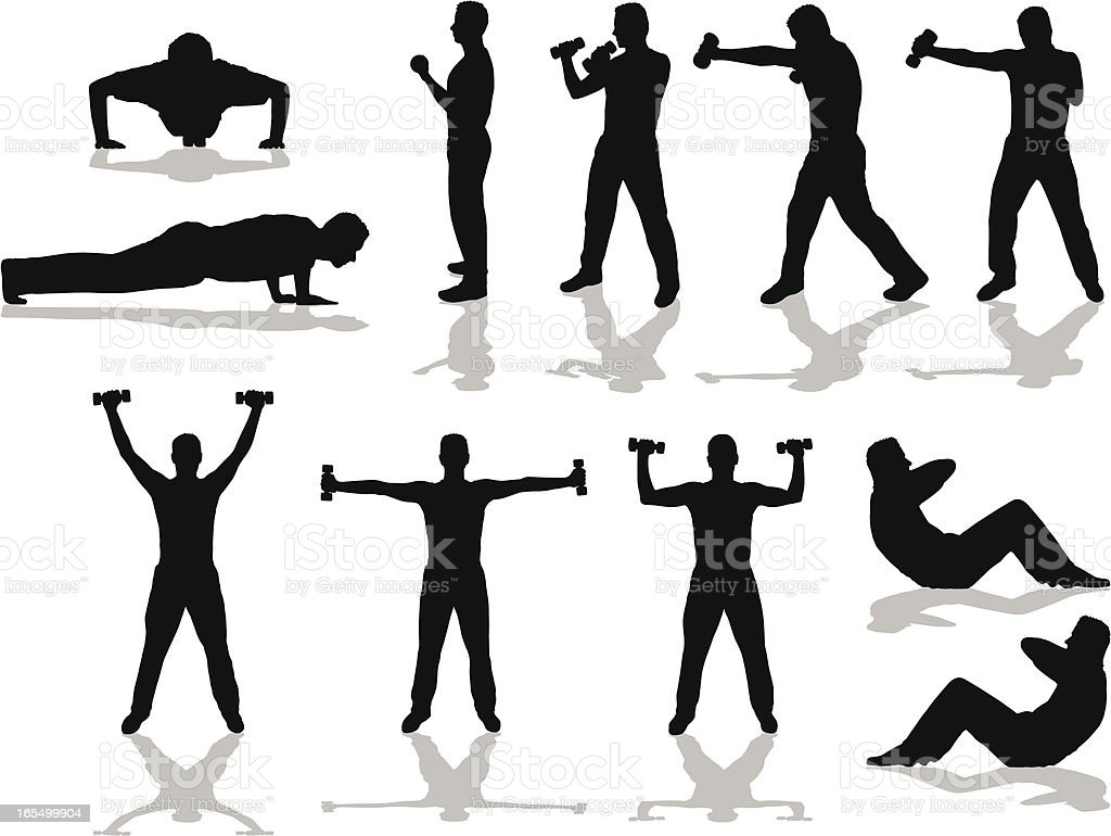 Fitness silhouettes vector art illustration