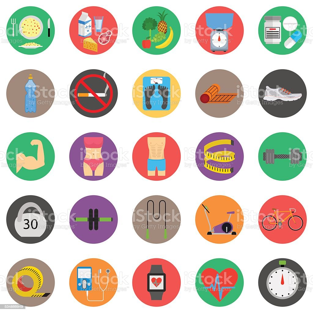 Fitness sport and health colorful flat design icons set vector art illustration