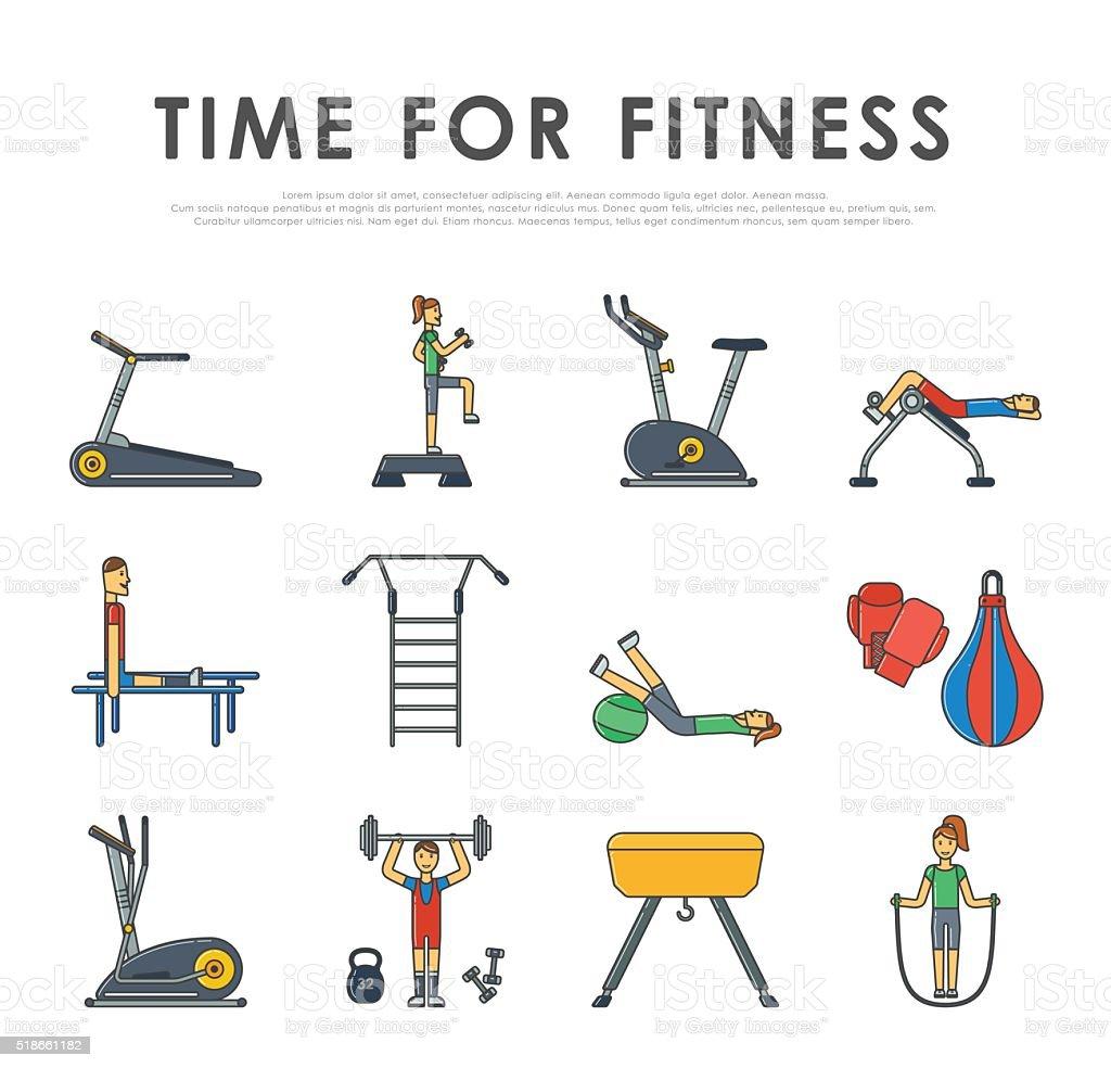 Fitness sport gym exercise equipment workout flat set concept vector vector art illustration