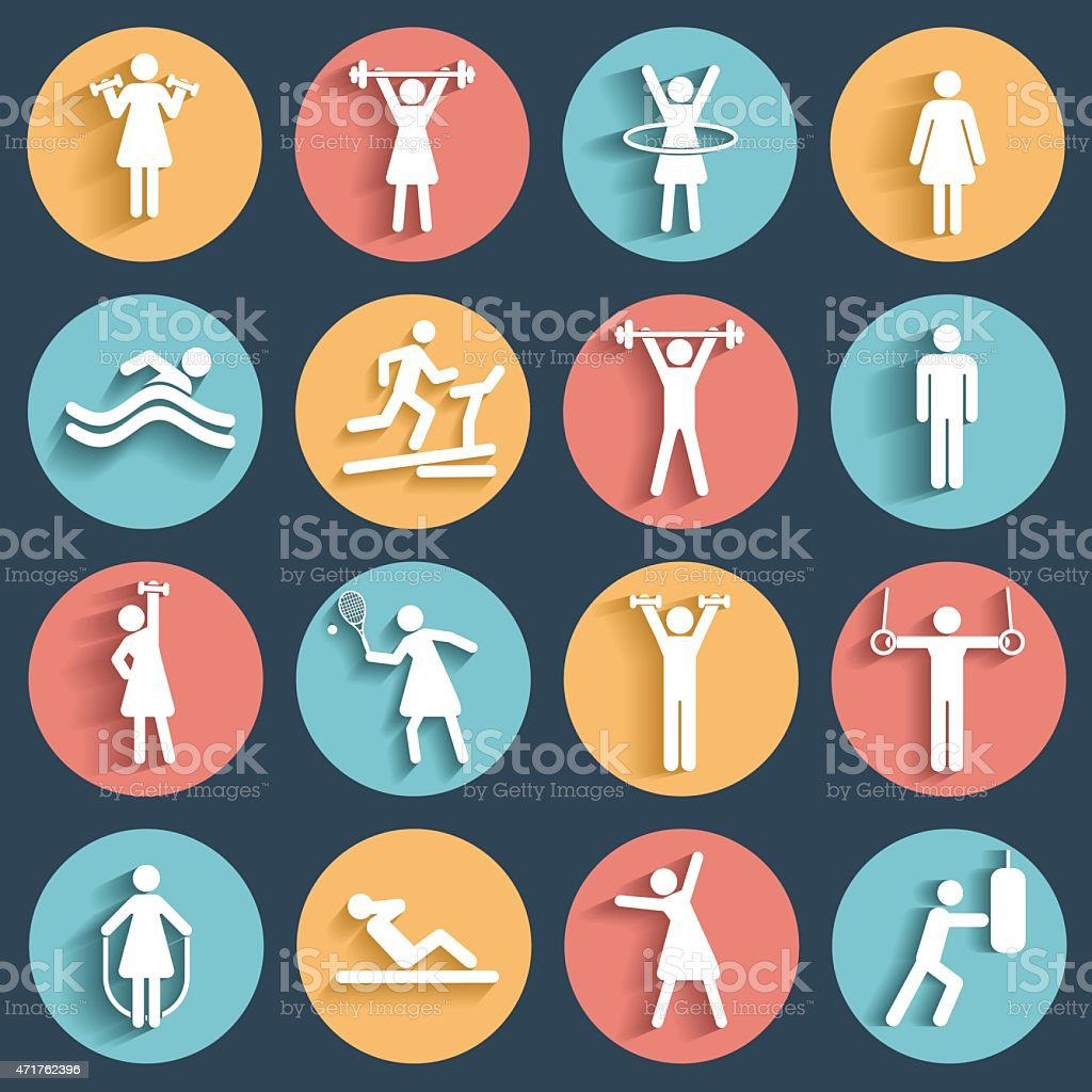 Fitness, sport vector flat icons set vector art illustration