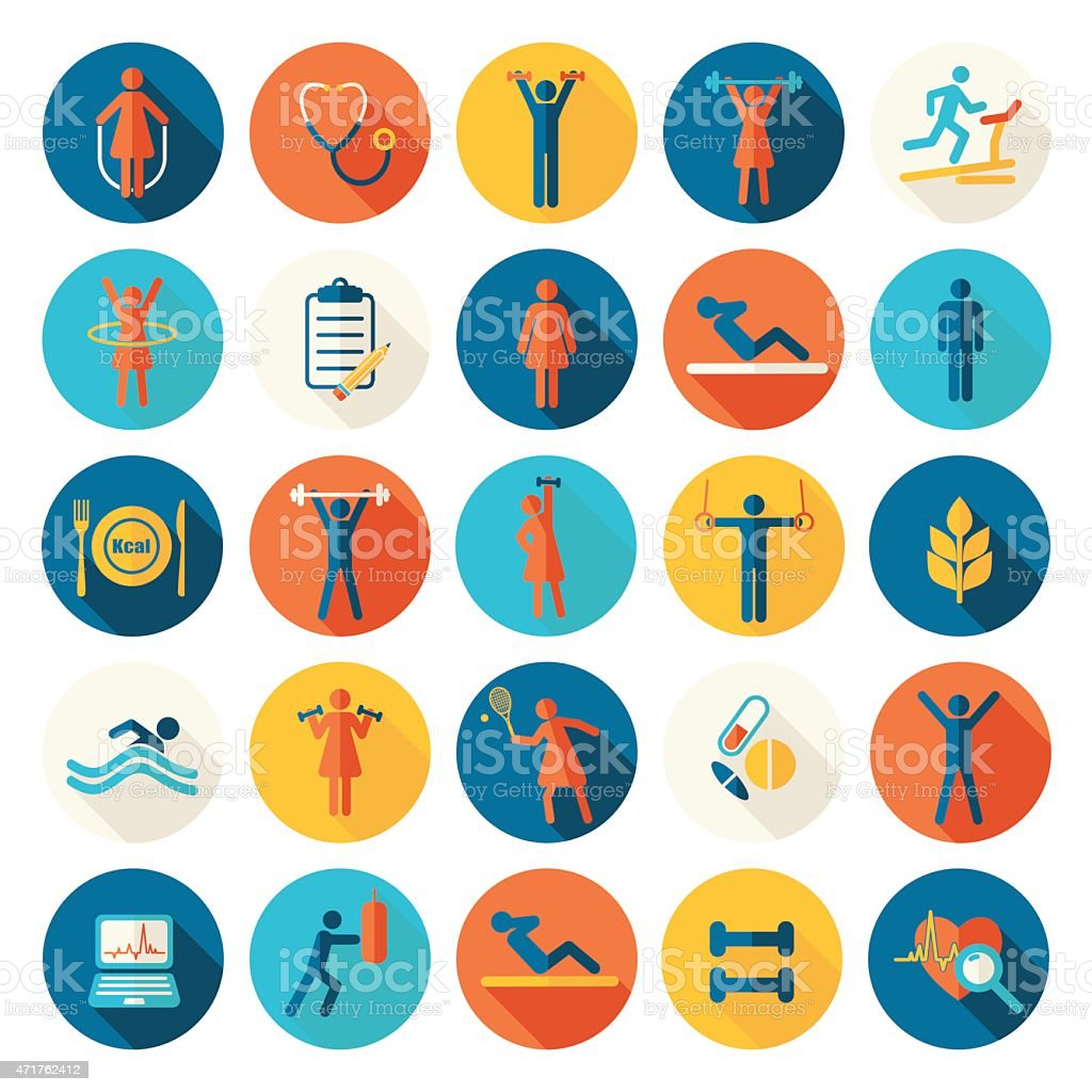 Fitness, sport vector flat icons set with shadows vector art illustration