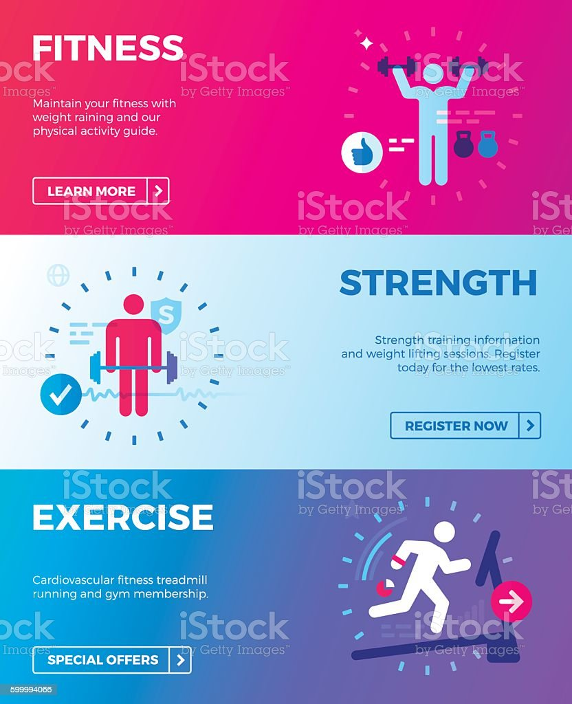 Fitness, Strength Training and Exercise Health Banners vector art illustration