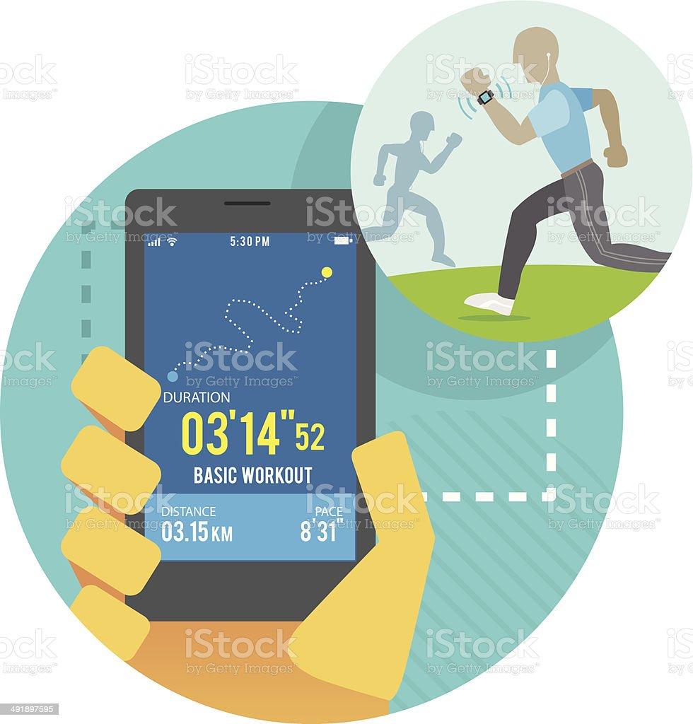 Fitness technology vector art illustration