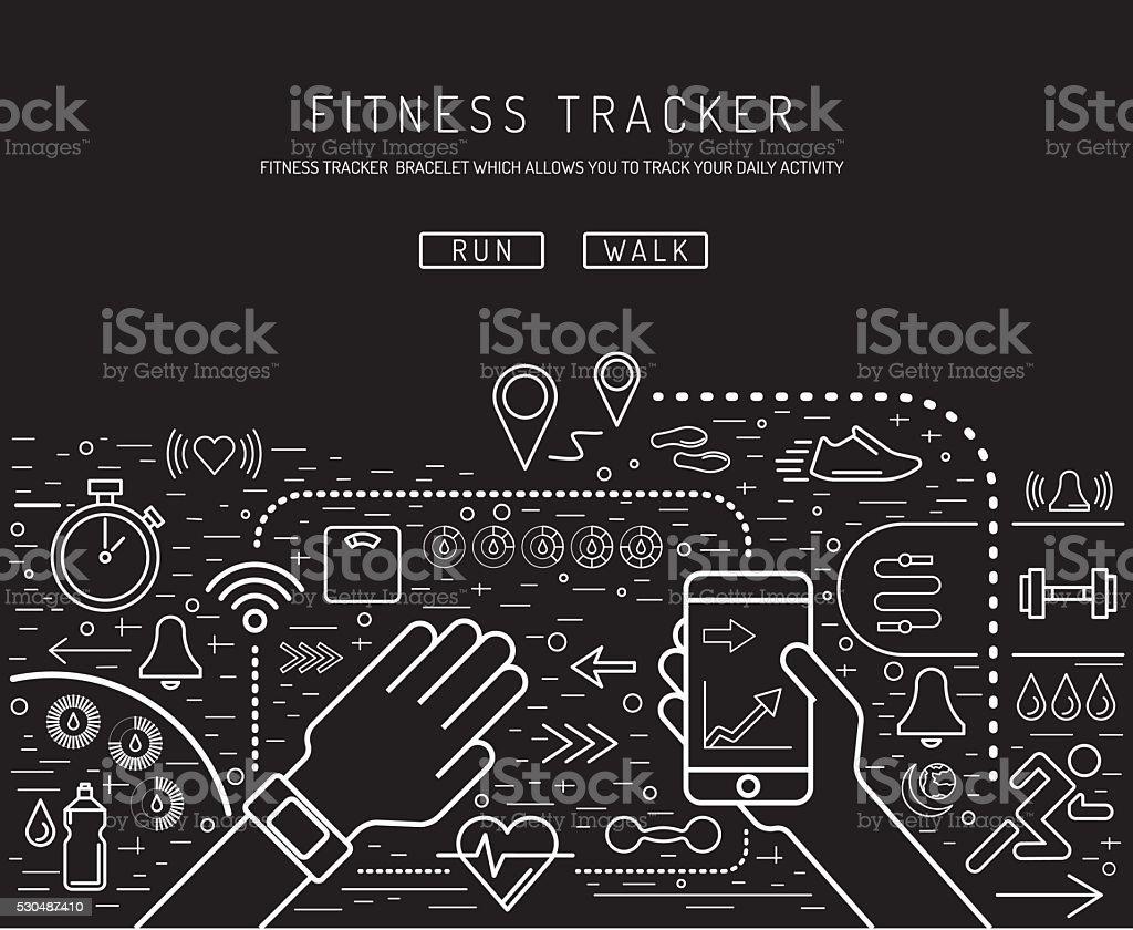 Fitness tracker 11 vector art illustration