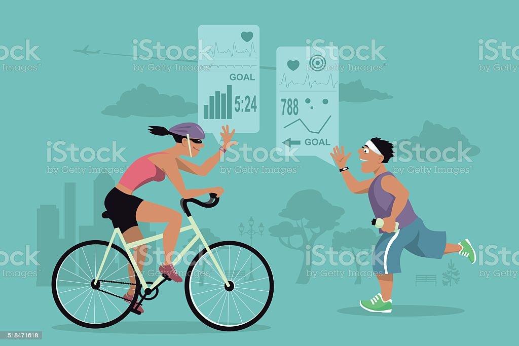 Fitness tracker and social media vector art illustration