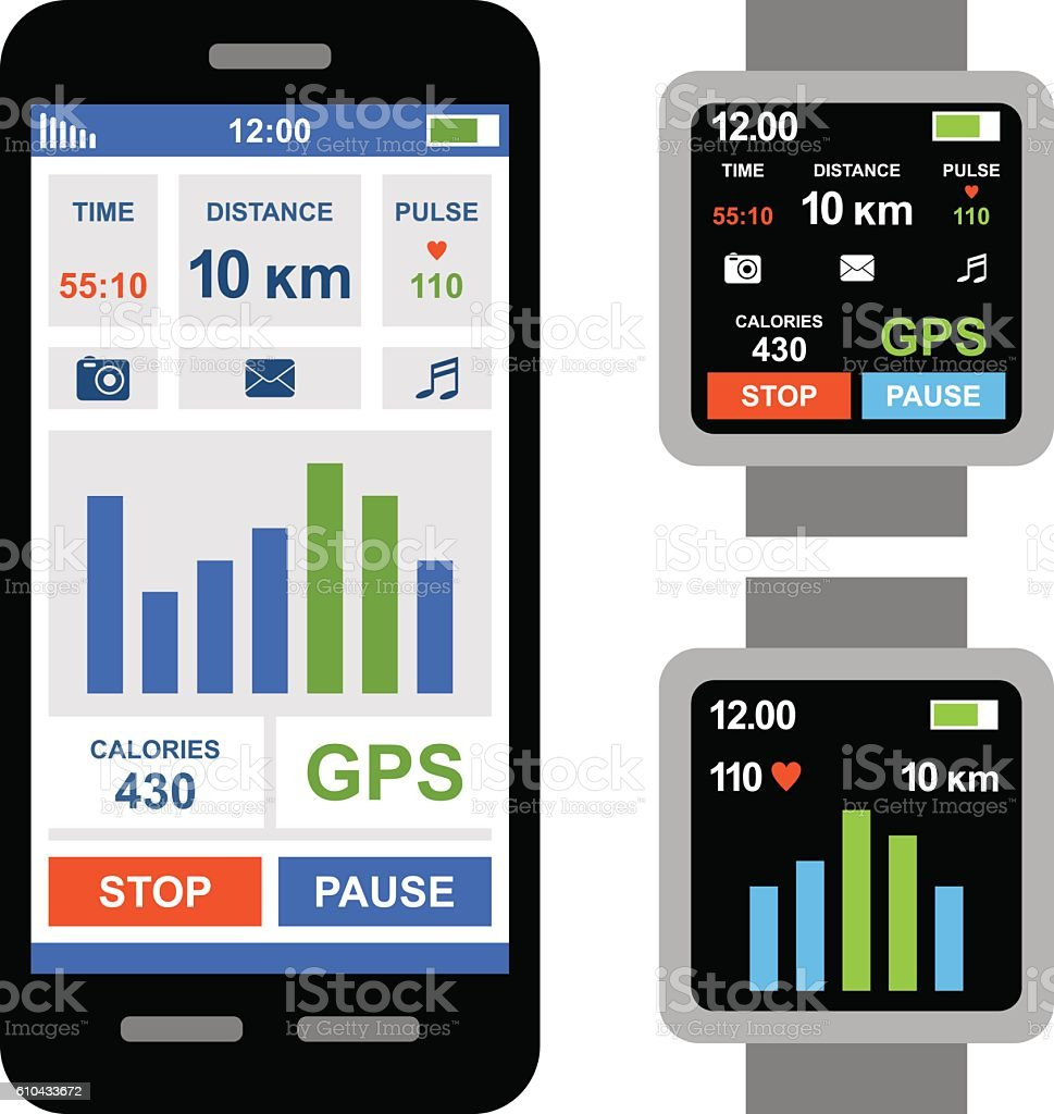 Fitness tracker app for smartwatch and smartphone vector art illustration