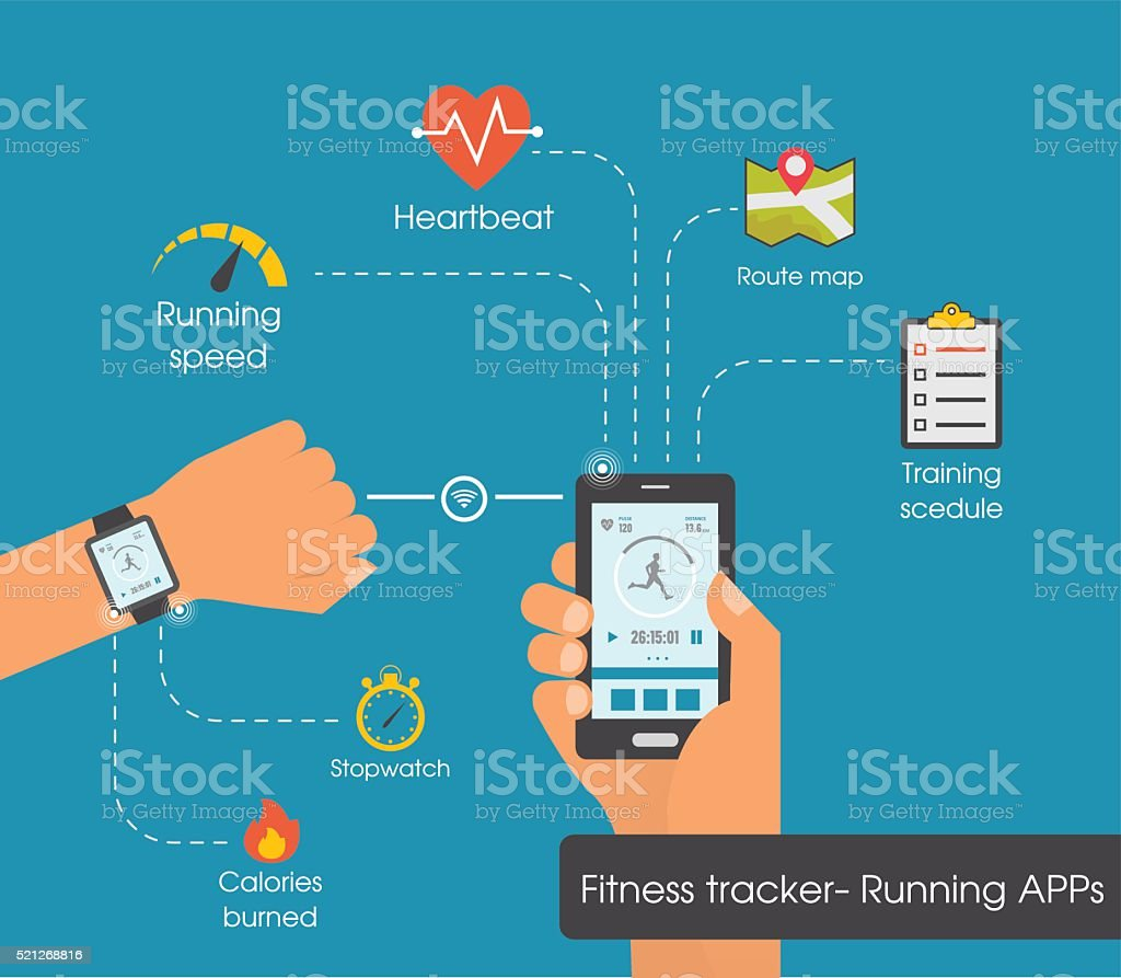 Fitness tracker app graphic user interface for smartwatch and smartphone vector art illustration