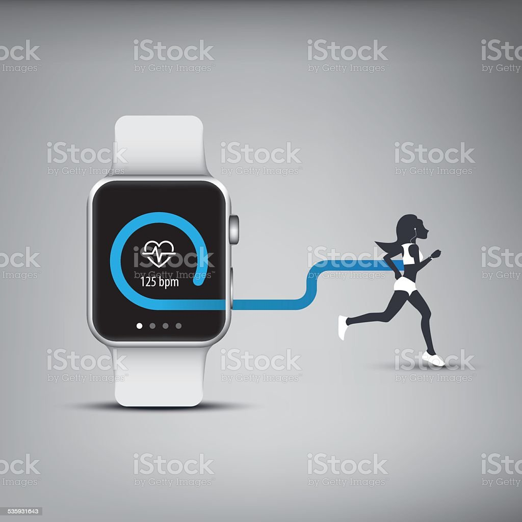 Fitness tracker application for smart watch concept with heart monitor vector art illustration