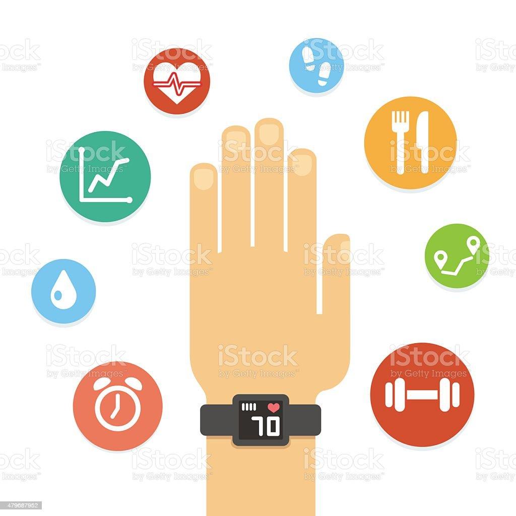 Fitness tracker hand vector art illustration