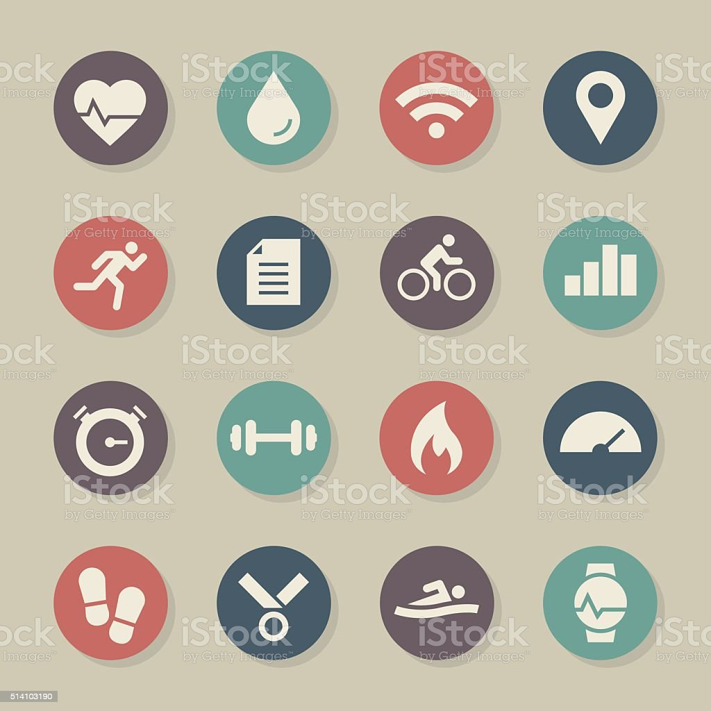 Fitness Tracker Icon - Color Circle Series vector art illustration