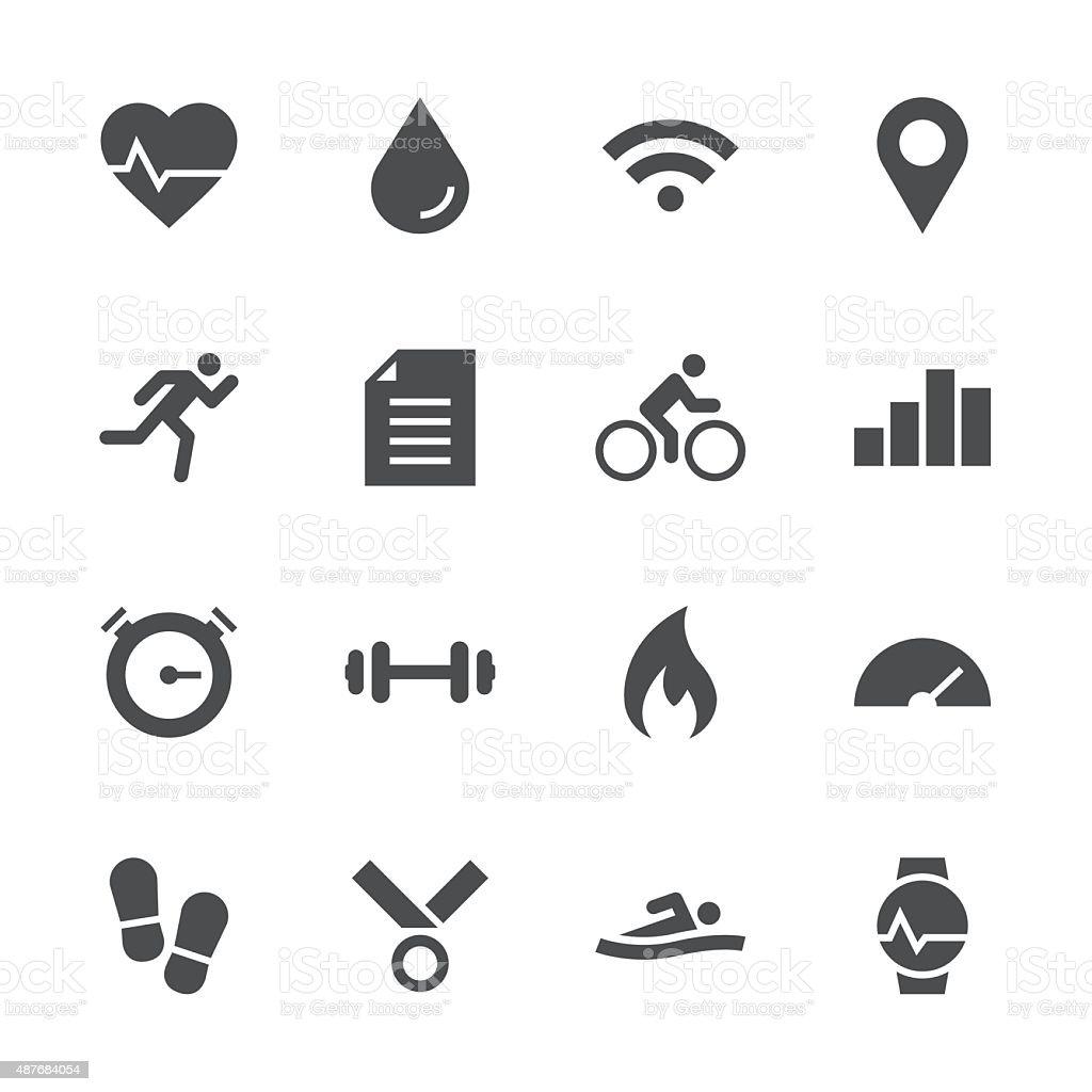 Fitness Tracker Icon - Gray Series vector art illustration