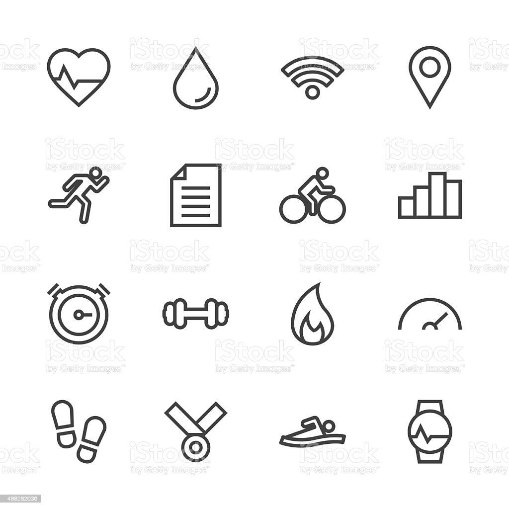Fitness Tracker Icon - Line Series vector art illustration