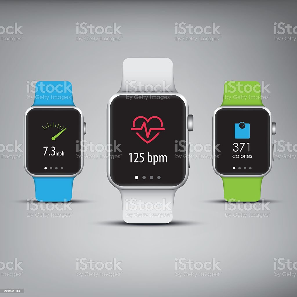 Fitness tracker in elegant design with colorful bands and apps vector art illustration