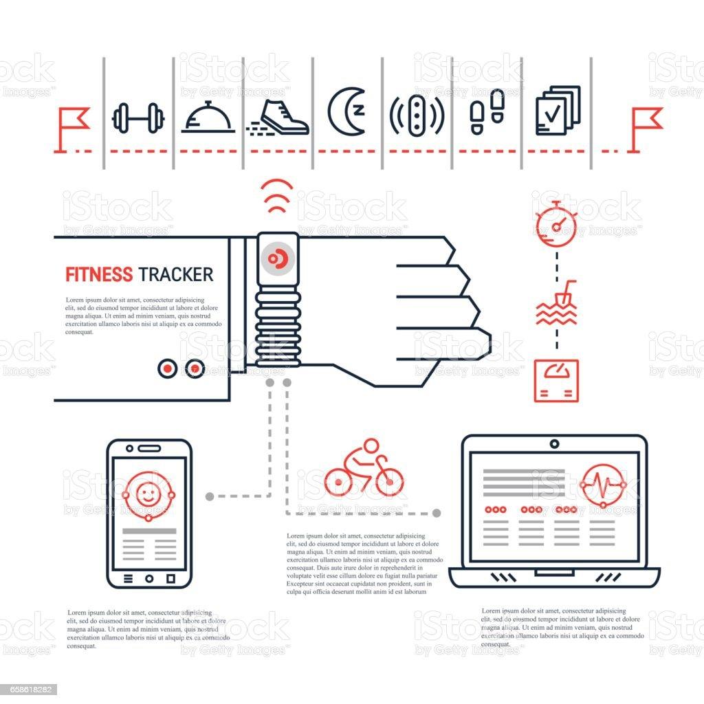 Fitness tracker infographic vector art illustration