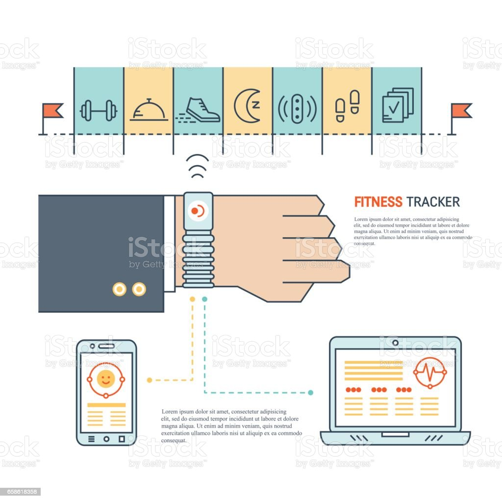 Fitness tracker infographic vector art illustration
