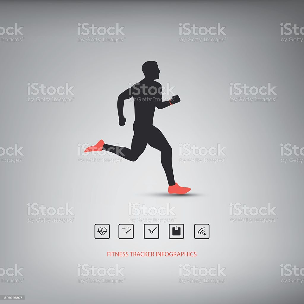 Fitness tracker or smart watch wearable technology infographics with set vector art illustration
