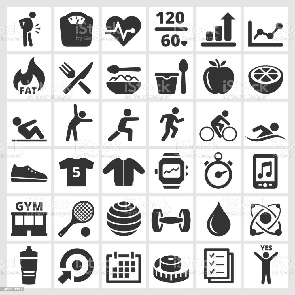 Fitness & wellness black and white vector interface icon set vector art illustration