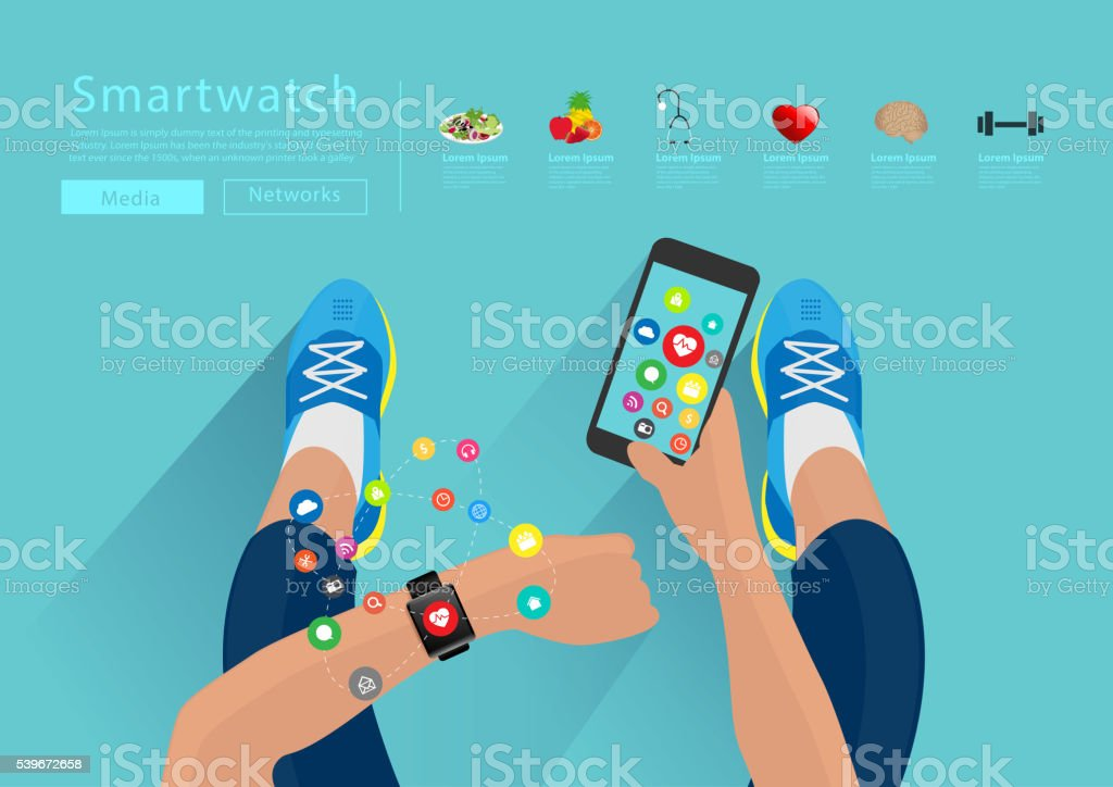 Fitness woman hand with wearing watchband touchscreen smartwatch vector art illustration
