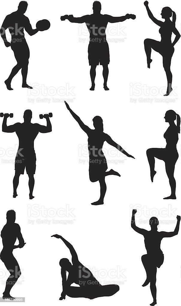 Fitness work outs men and women vector art illustration