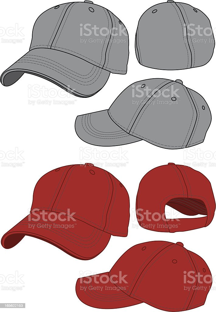 Fitted and Adjustable Baseball Hats royalty-free stock vector art