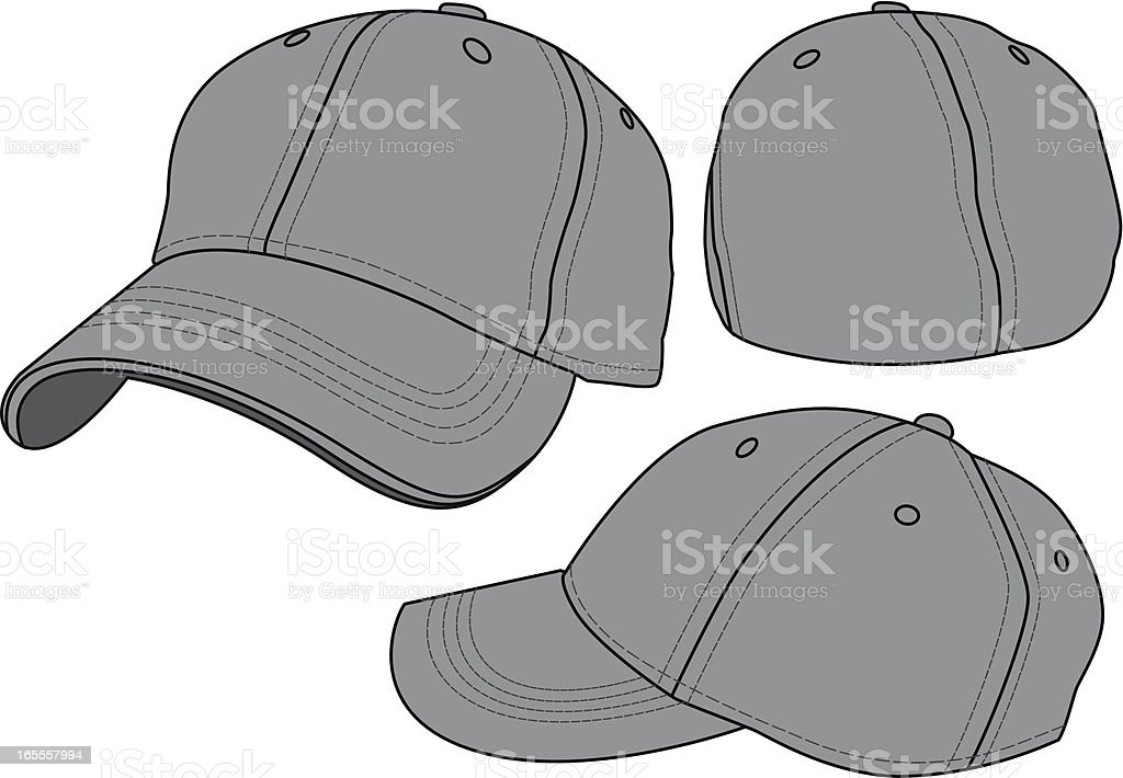 Fitted Baseball Hat Template royalty-free stock vector art