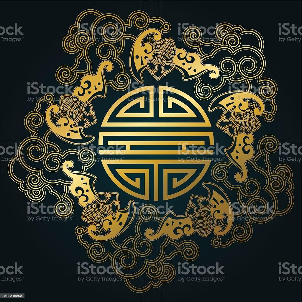 Five bats with shou – Chinese auspicious luck symbol vector art illustration