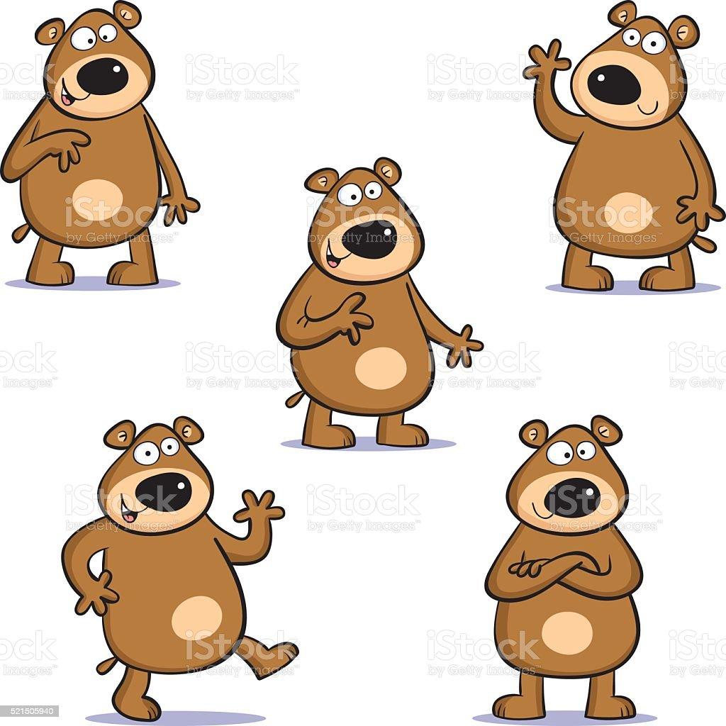 Five bears vector art illustration