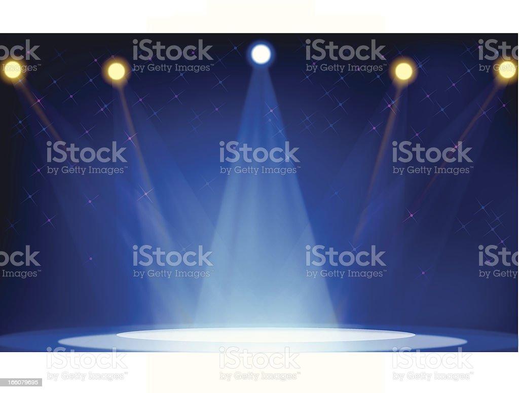 Five bright spotlights shining on an empty stage in blue hue vector art illustration