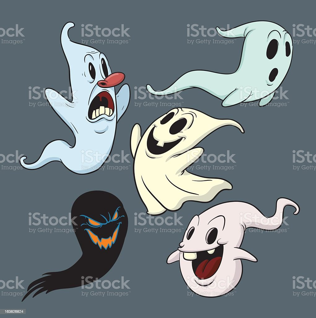 Five cartoon ghosts on a gray background royalty-free stock vector art
