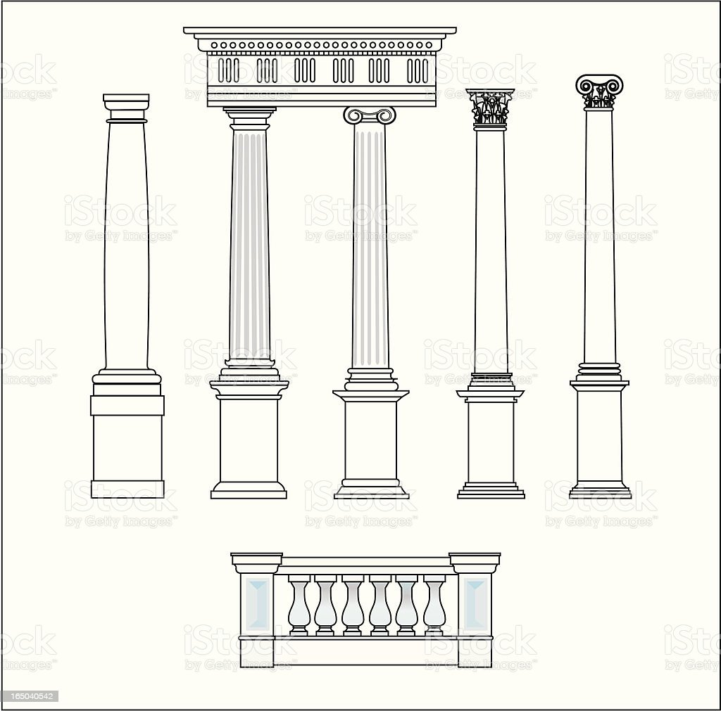 five classical orders vector art illustration