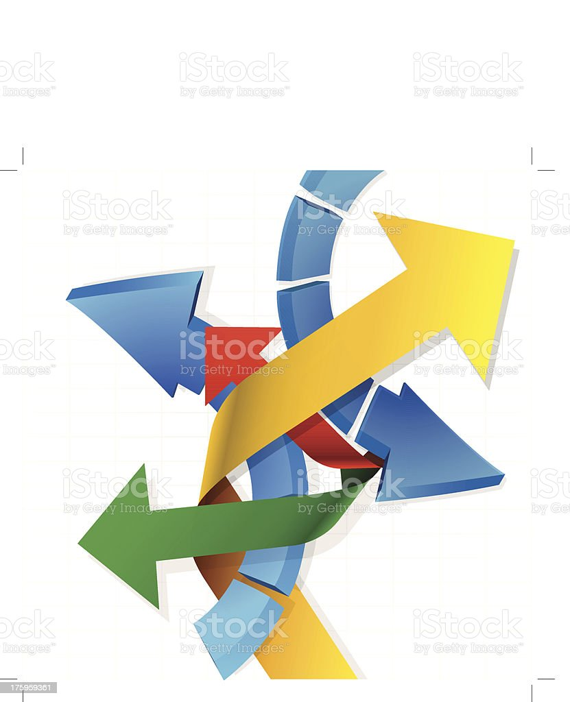 Five colored arrows point in different directions on white vector art illustration