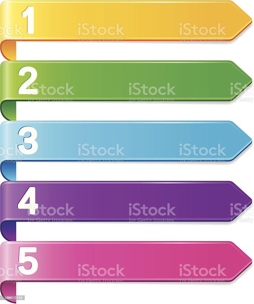 Five colored banners numbered 1 through 5 in order vector art illustration