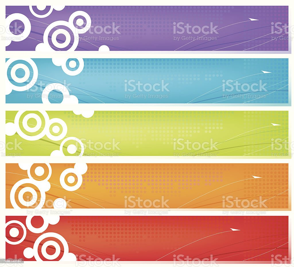Five Colorful Web Banners royalty-free stock vector art