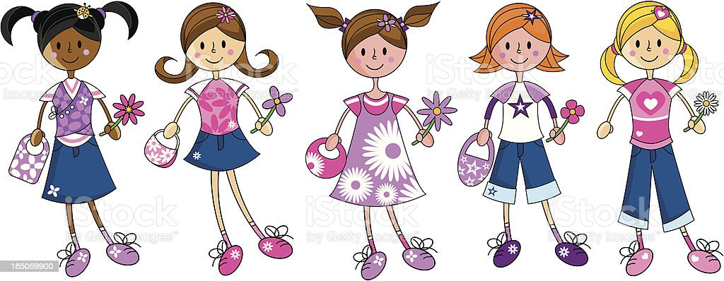 Five Cute Funky Fashion Girl Characters vector art illustration