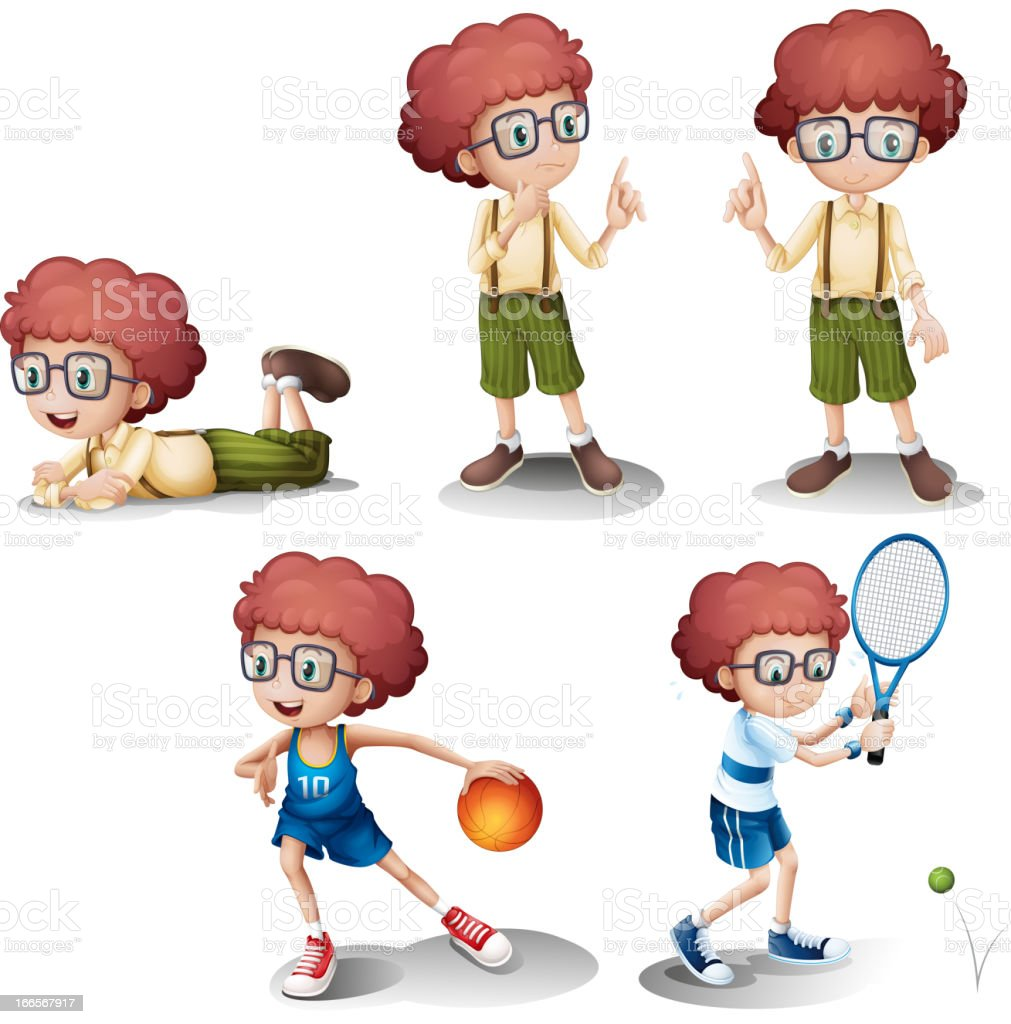 Five different activities of a young boy royalty-free stock vector art