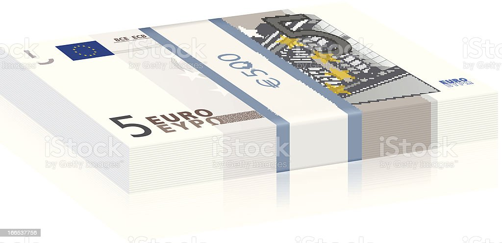 five euro stack royalty-free stock vector art