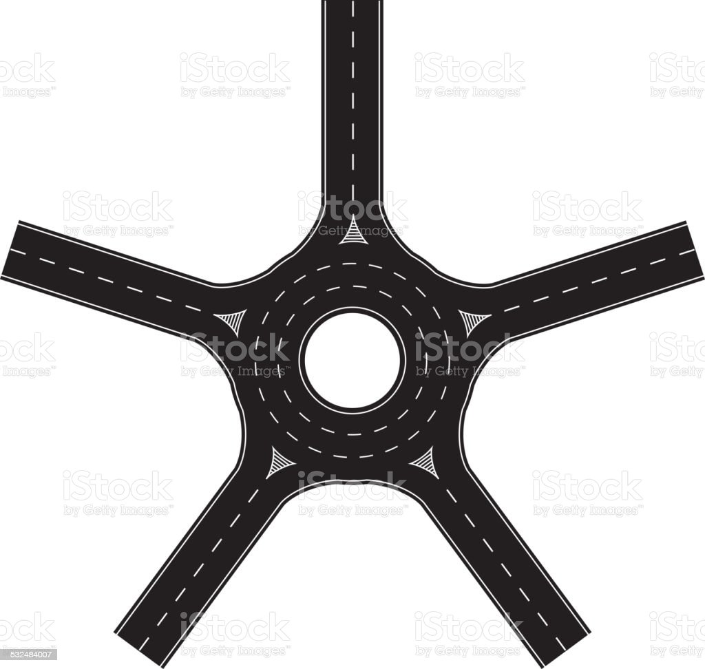 Five export traffic circle vector art illustration