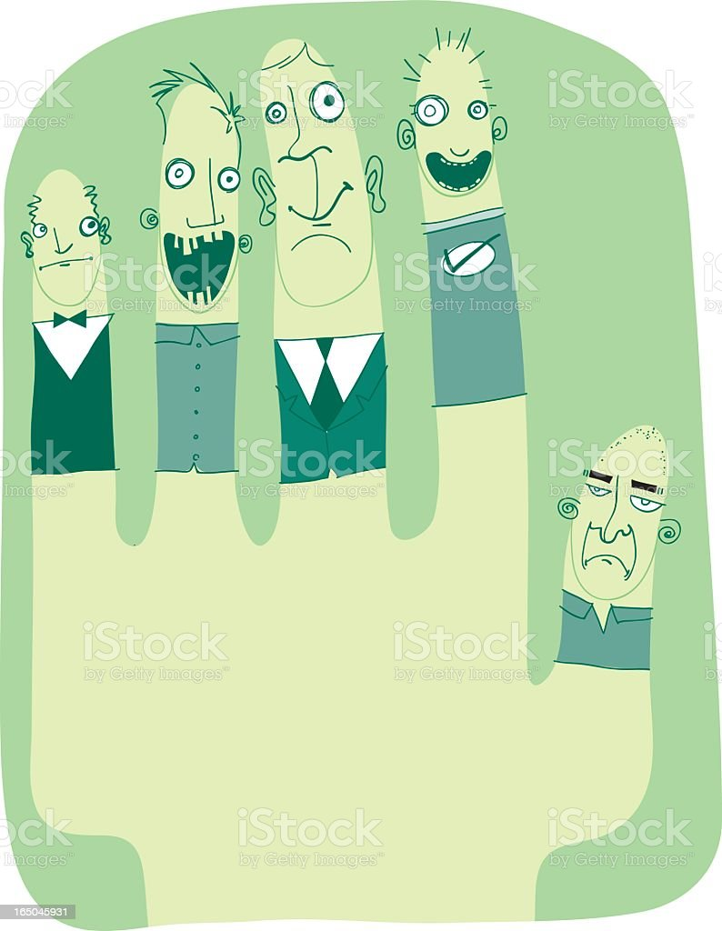 Five Finger Folks vector art illustration