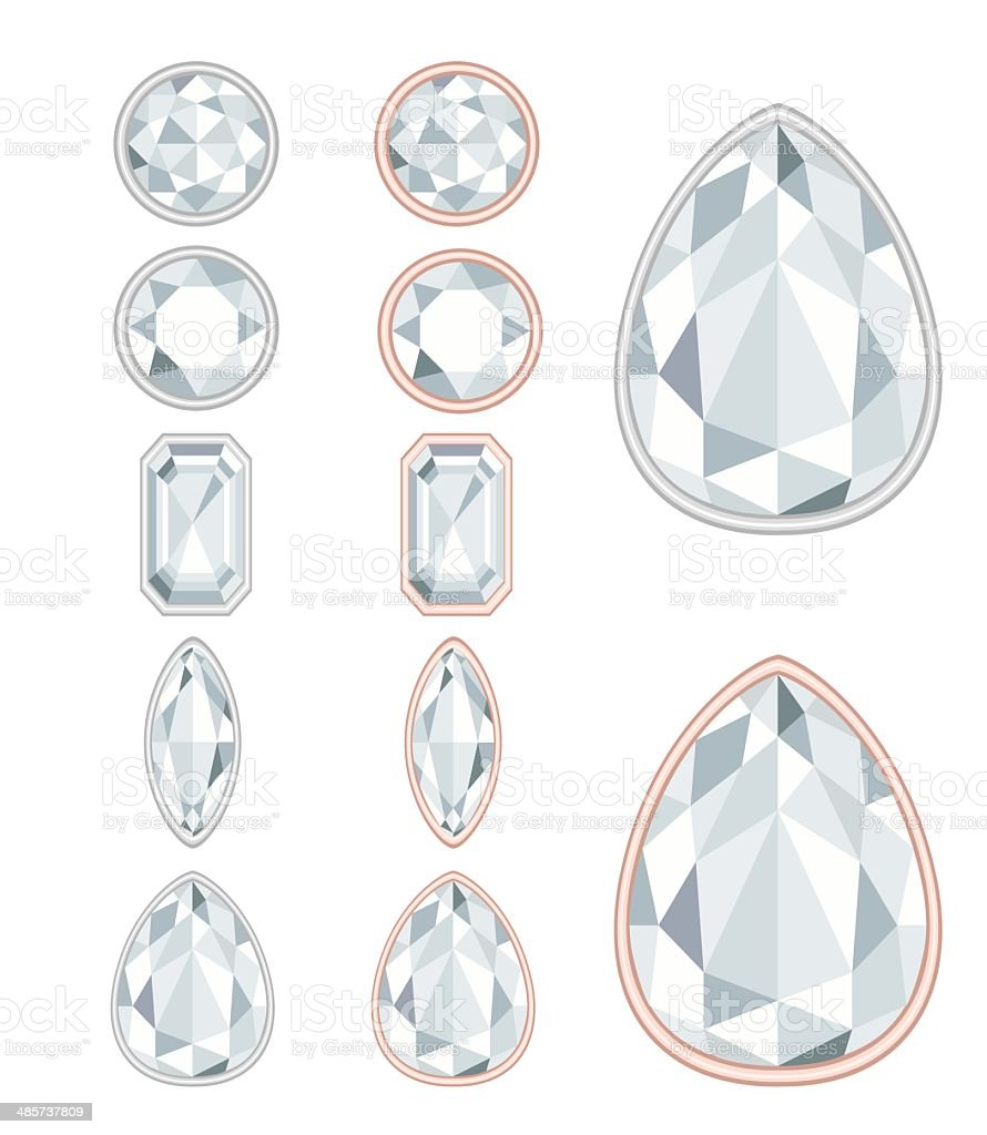 five forms of diamond cut royalty-free stock vector art