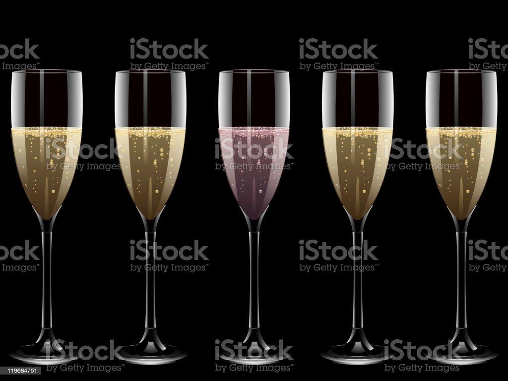 Five glasses of champagne on black background vector art illustration