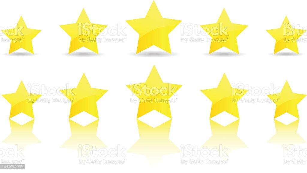 five gold star icon set vector award quality illustration vector art illustration