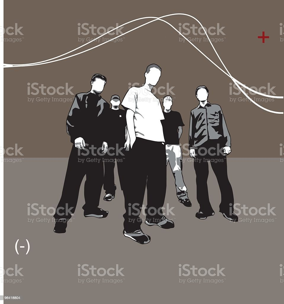 Five guys in a band like pose (vector) royalty-free stock vector art