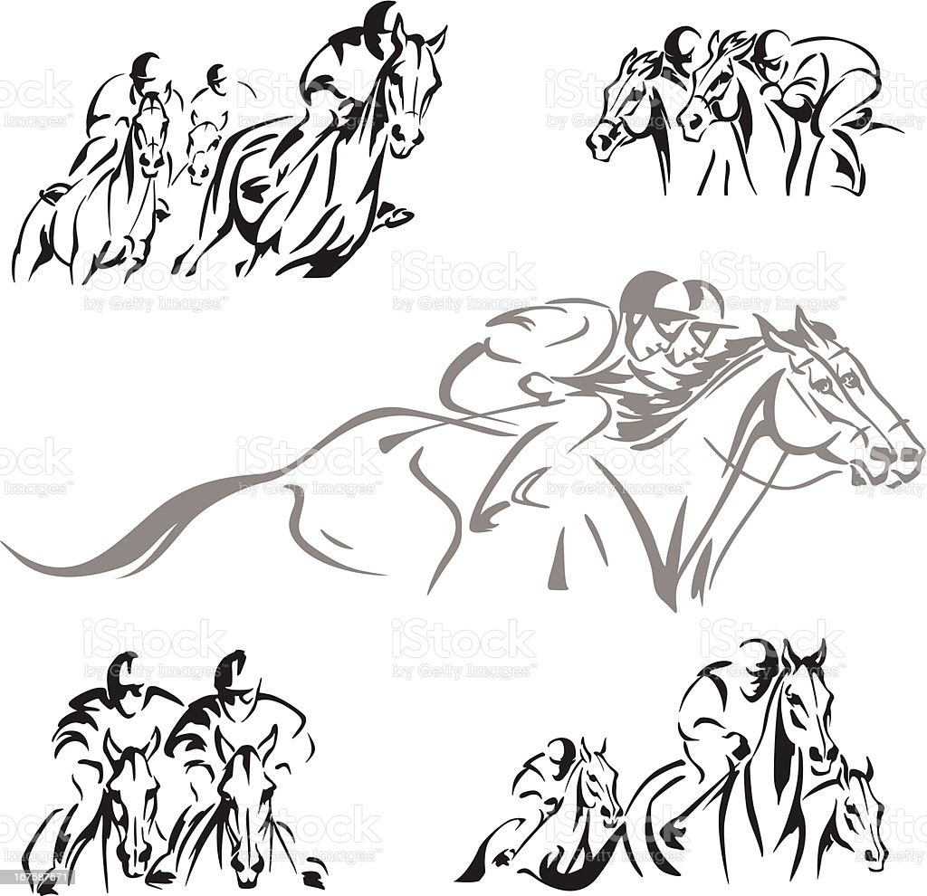 Five horse-racing themes vector art illustration